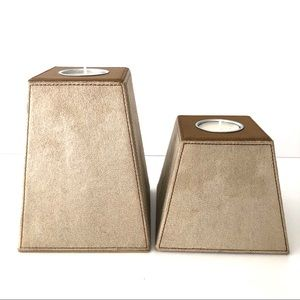 Set of 2 Faux and Suede Tea Lite Candle Holders